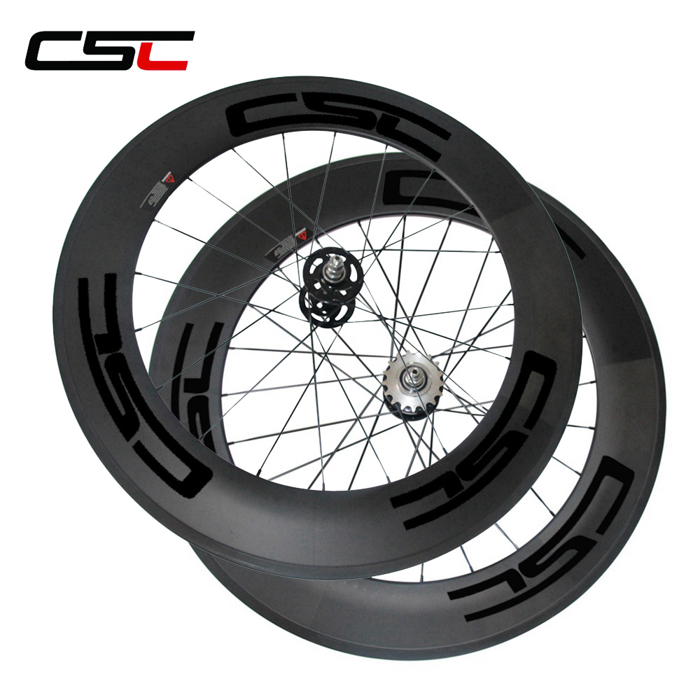 CSC depth 88mm width 23mm Clincher carbon track bike wheels fixed gear flip flop single speed
