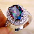JROSE Classic Style Mysterious Wholesale Created Rainbow & White CZ Silver PlatedRing Size 7 8 9 10 11 Women Engagement Gift Hot