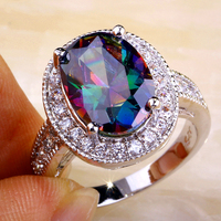 Onlylove 2016 Classic Style Mysterious Fashion Rainbow & White Topaz Stone Silver Ring Size 7 8 9 10 11 Women Gift Free Shipping