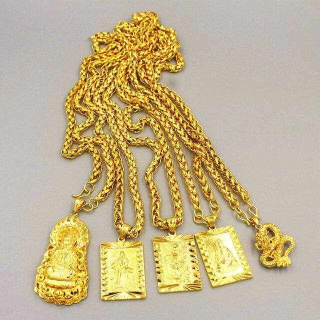 誇張ロングチェーン 24 18k ゴールドワイド男性ジュエリービッグゴールドネックレス仏中国のドラゴントーテムのため男性
