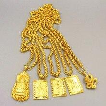 ยาวโซ่ 24K Gold กว้างสร้อยคอเครื่องประดับ Big Gold สร้อยคอพระพุทธรูปมังกรจีน Totem สร้อยคอผู้ชาย