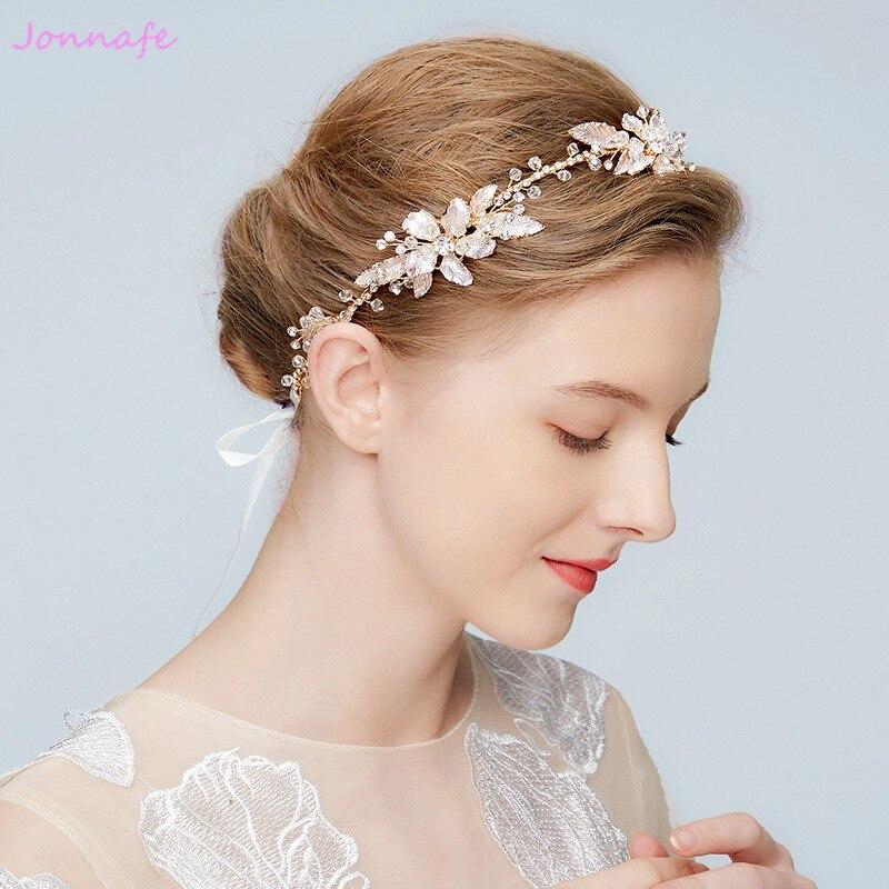 5e554fadbb3a16 Jonnafe Boho Kristall Braut Stirnband Tiara Gold Blatt Hochzeit Haar Crown  Zubehör Frauen Haar Ornamente Stück in Jonnafe Boho Kristall Braut Stirnband  ...