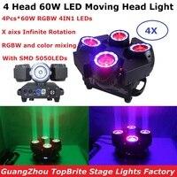 4 единицы Dj оборудование 4 головки 60 Вт светодиодные светильники высокое качество RGBW цвет смешивание светодиодный X 60 Вт светодиодные движущ...