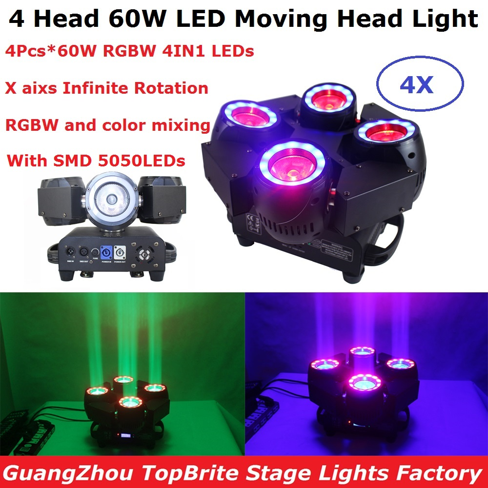 4 Units Dj Equipments 4 Heads 60W LED Beam Lights High Quality RGBW Color Mixing 4X60W LED Moving Head Lights For Dj Laser Stage