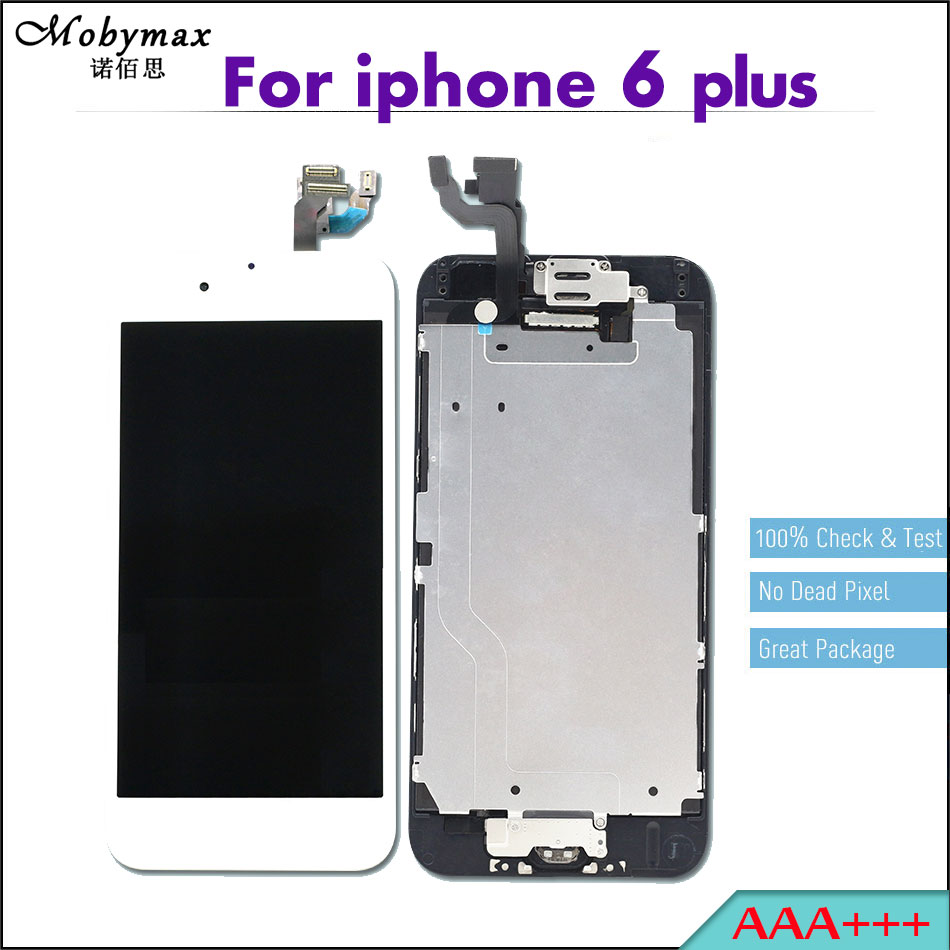 Mobymax 3PCS Pantalla LCD Full Assembly For iPhone 6 plus 5.5 Touch Screen Digitizer Display+Home Button+Front Camera+Frame
