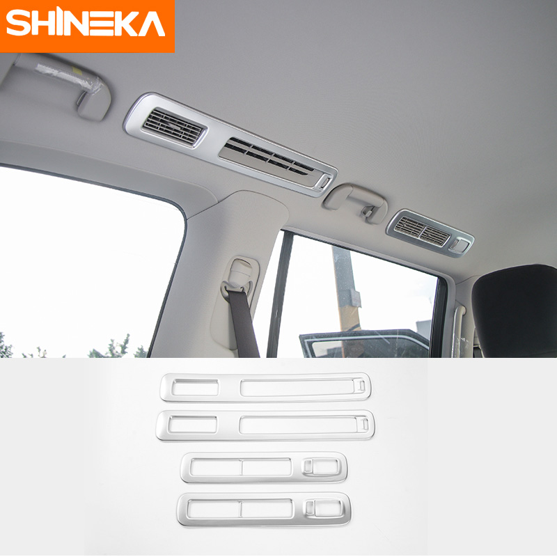 цена на SHINEKA Rear Air Vent Decorative Trim Top Outlet Cover for Nissan Patrol 2017 Interior Accessories ABS 4pcs