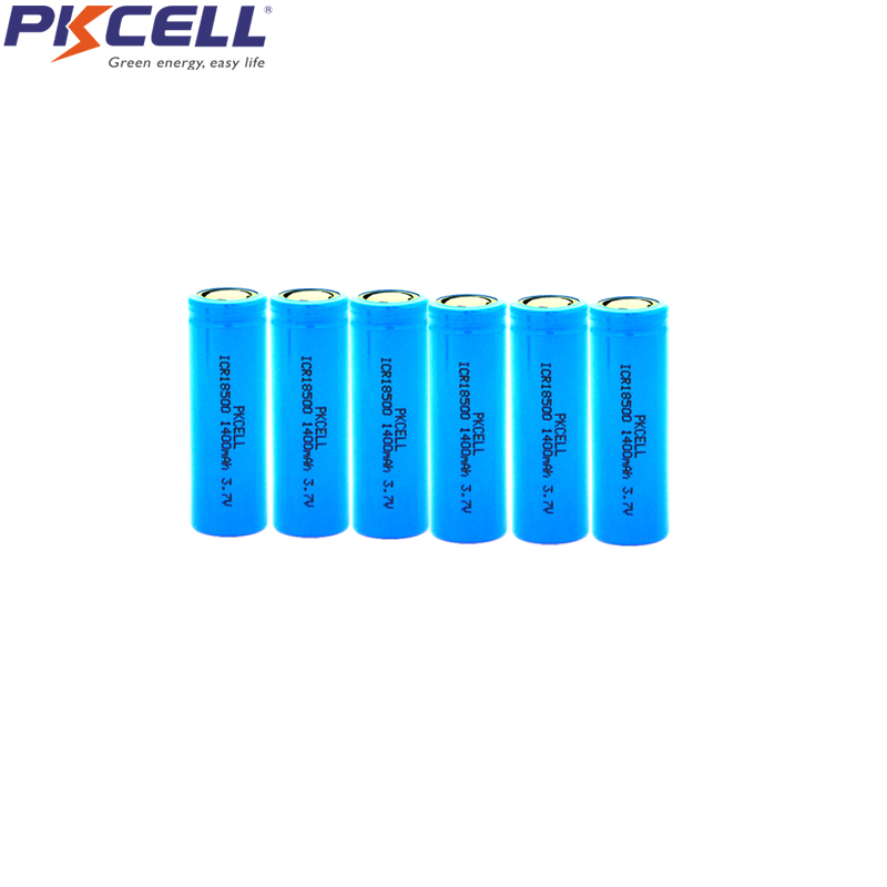6Pcs PKCELL <font><b>ICR</b></font> <font><b>18500</b></font> 3.7V 1400mAh Li-ion Rechargeable <font><b>Battery</b></font> ICR18500 Bateria Lithium li-ion Batteies Baterias For Torch image