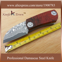 DS008 new Vg10 damascus steel knife anegre wood handle outdoor tools folding Camping Knife couteau pliant
