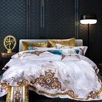 Золотой вышивкой Постельное белье royal белое покрывало роскошные пододеяльник Двойной простыни постельное белье queen King size 4/6/9 шт.