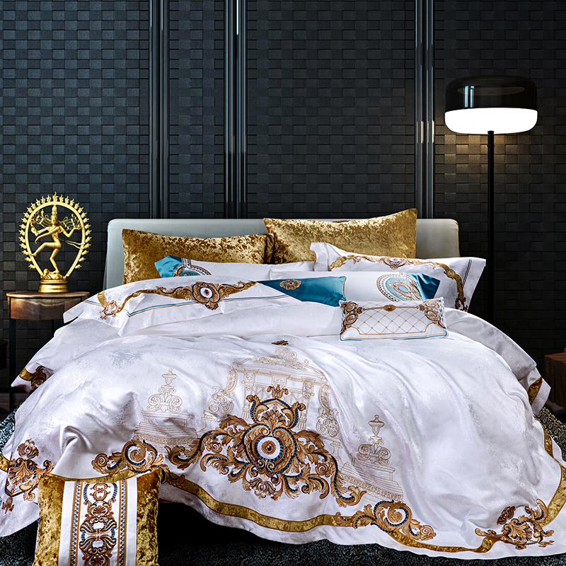 Gold embroidery Bedding Set royal white Bedspread Luxury ...