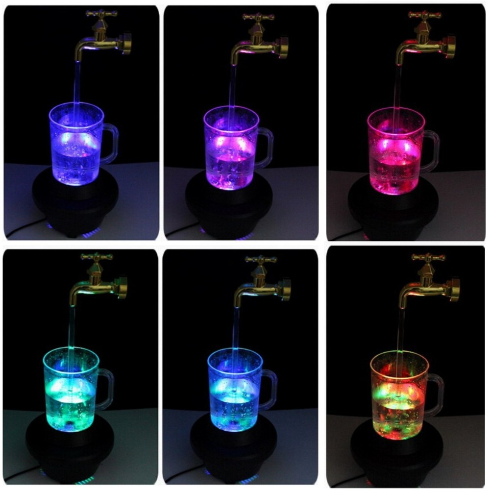 Novelty multi color water faucet lamp,Wonderful fountain water flow ...