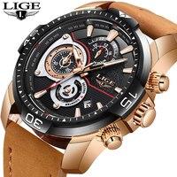 LIGE часы Для мужчин Спорт Водонепроницаемый Дата Аналоговый Бизнес Для мужчин часы хронограф Мужские кварцевые часы для Для мужчин Relogio