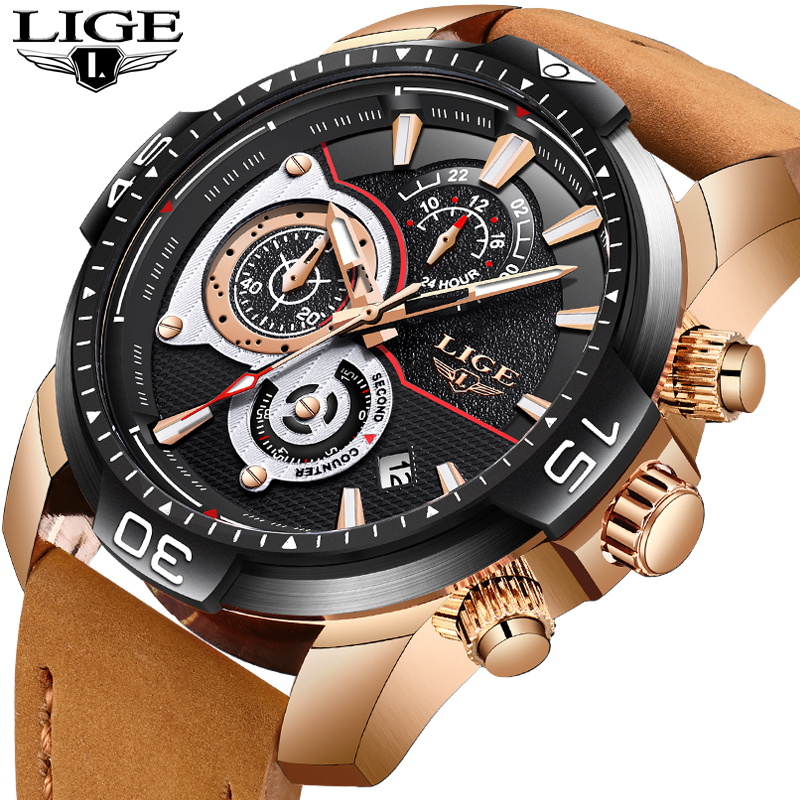 LIGE Watches Men Sport Waterproof Date Analogue Business Mens Chronograph Male Quartz For Relogio Masculino