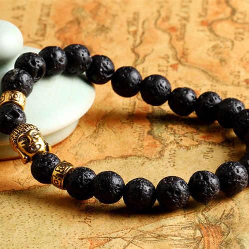 Pulsera elástica negra volcánica con cabeza de Buda en piedra de Lava para hombre y mujer, pulsera con abalorios blancos mate para rezar, brazaletes de joyería