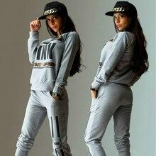 Pullover Tracksuit Women Letter PINK Print Sport Suit Hoodies Sweatshirt +Pant