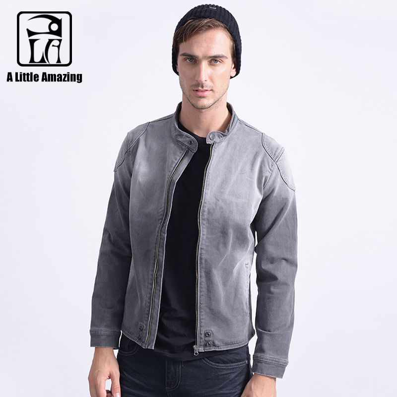 Aliexpress.com : Buy Mens Knit Denim Darked Wash Grey Jeans Jacket ...