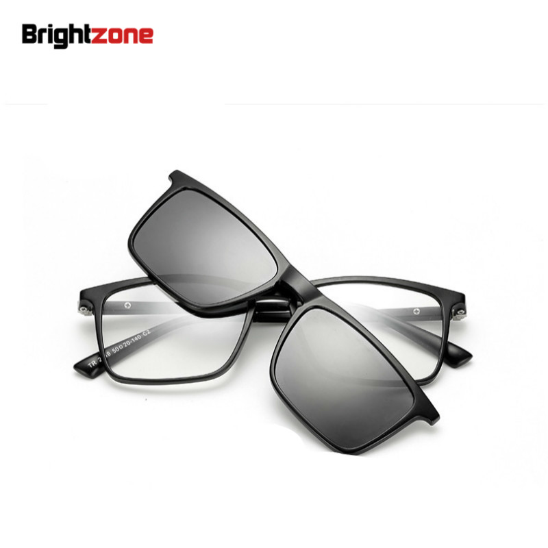 Brightzone Ultra Light TR90 3 in 1 Magnet Clip On Polarized Sunglasses Men Women Eyeglasses Myopia Optical Frame Night Driving