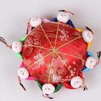 Retro Thiết Kế Top Grade Silk Satin Trung Quốc Hàng Thủ Công Truyền Thống Hộp Đồ Trang Sức Lưu Trữ Trường Hợp May Kit Bán Hot