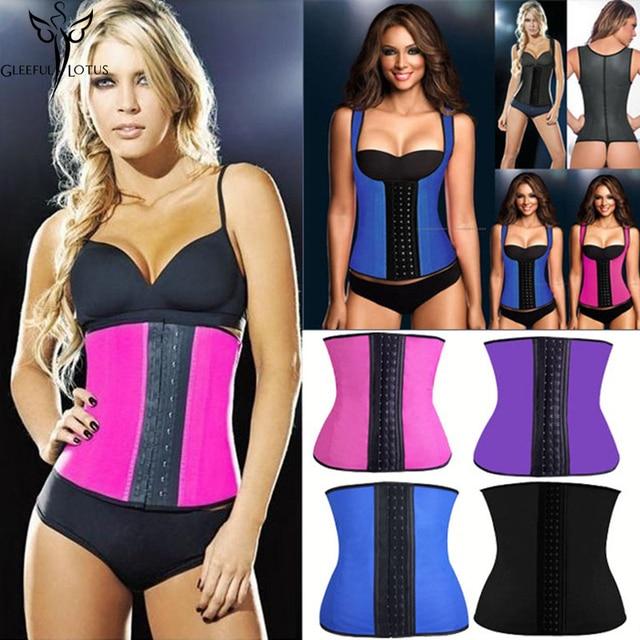 ce89751f3f4 women slimming body shaper belly latex waist trainer cincher Rubber Corsets  girdles Abdomen fajas sheath Shapewear