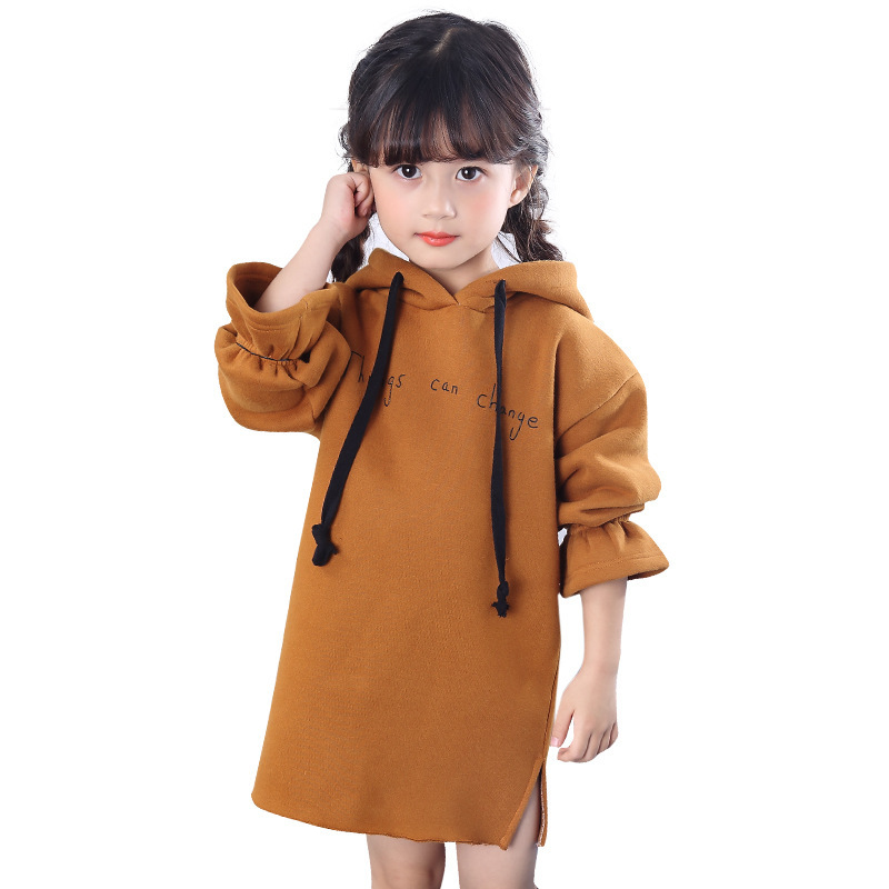 2018 Winter Girls Dresses Long Sleeve Letter Prints Hoodie Thicken Warm Kids Dresses for Girls Winter Dress