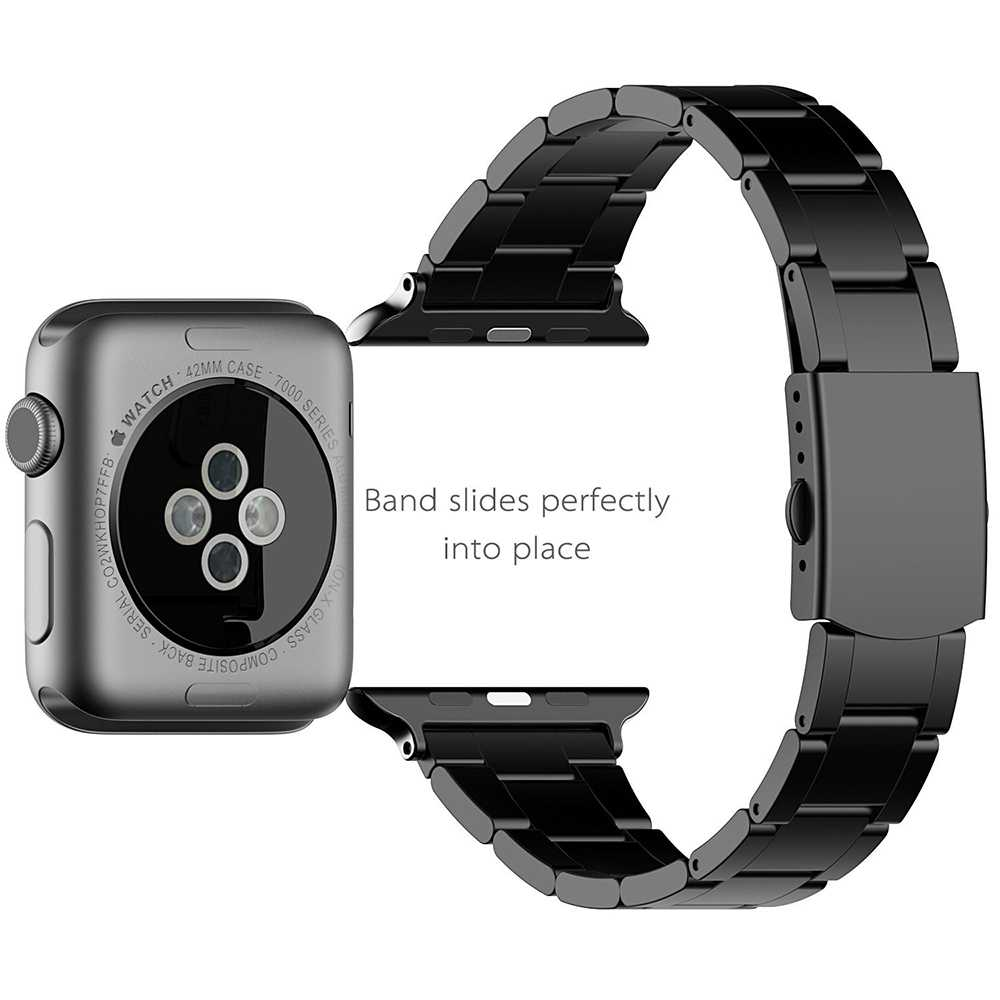 Stainless Steel Watchband+Adapter for iWatch Apple Watch Series 1 2 3 38mm 42mm Wrist Band Link Strap Bracelet Black Gold Silver eastar milanese loop stainless steel watchband for apple watch series 3 2 1 double buckle 42 mm 38 mm strap for iwatch band