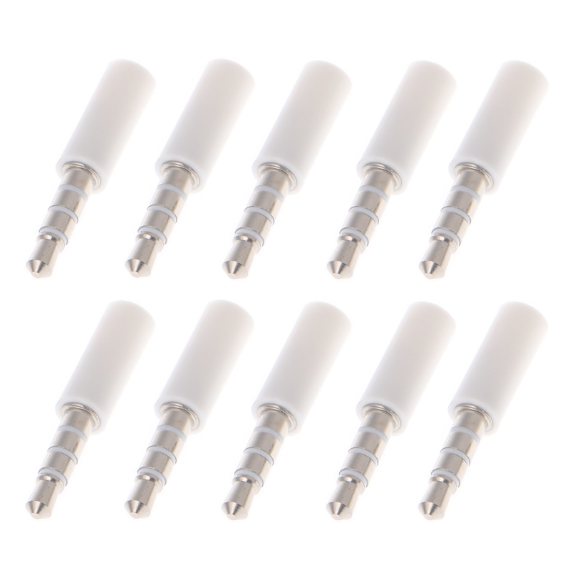 10x Gold Plated 4 Pole 3.5mm Male Stereo Earphone Headphone Jack Plug Soldering 1pc sliver 4 pole 3 5mm male repair headphone jack plug metal audio soldering cover free shipping new arrival