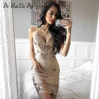 DeRuiLaDy Women Sexy Dress 2017 V Neck Sling Backless Gold Black Sequin Dresses Luxury Party Club