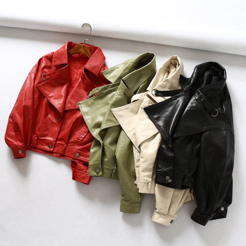 Women's Faux   Leather   Jacket Batwing Sleeve Vintage Biker Coat Short Zipper Motor PU Red Tops Spring Autumn Street   Leather   Coats