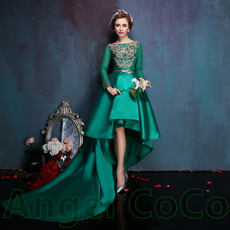 Real Picture Custommade Satin Short In Front Long Tail Party Dresses Long Sleeve Green Embroidered Evening Dress Robe De Soiree In Evening Dresses From