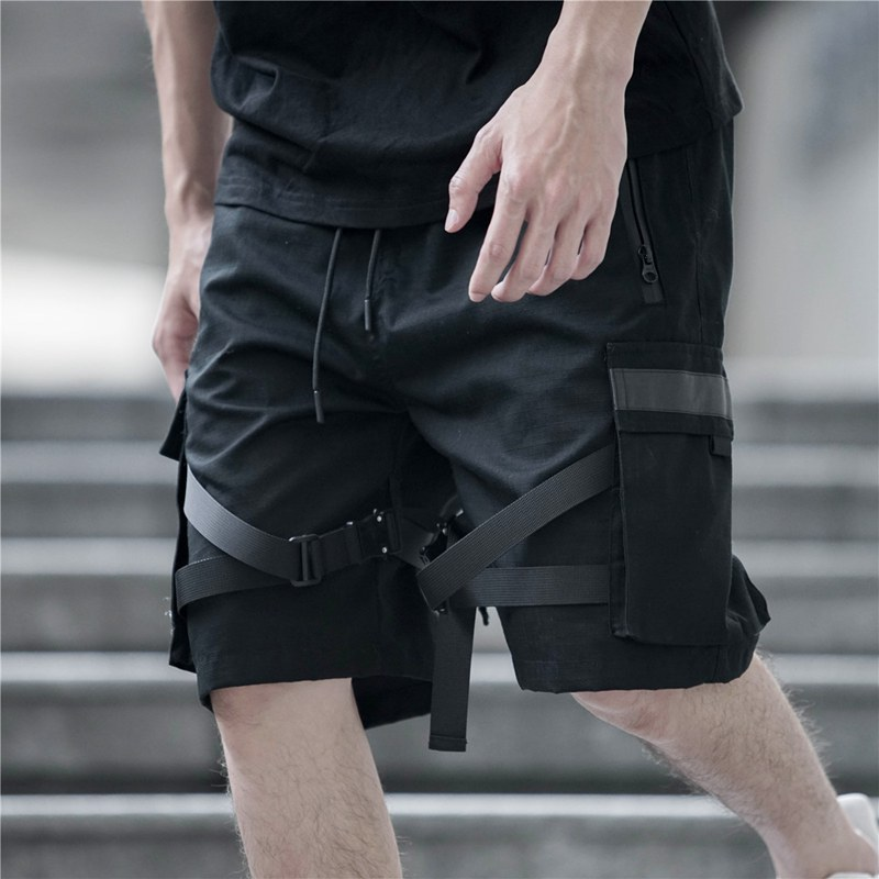 Men's Knee Length Cargo Shorts Male Harajuku Joggers Shorts Streetwear Tatical Military Short Fashion Ribbon Hip Hop Joggers