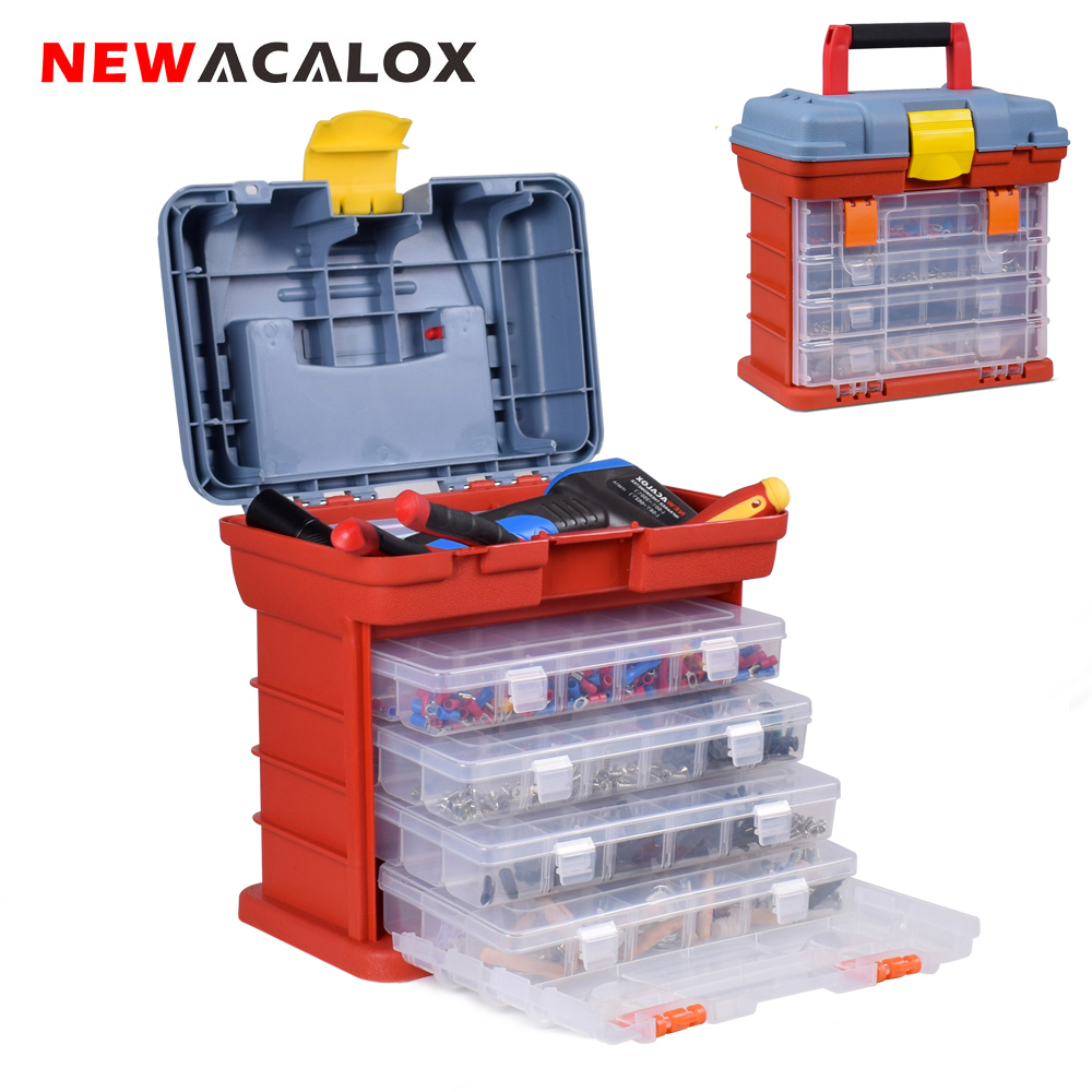 NEWACALOX Outdoor Tool Case 4 Layer Fishing Tackle Portable Toolbox Screw Hardware Plastic Storage Box with Locking Handle
