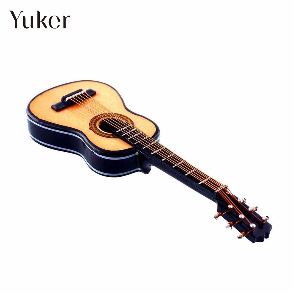 Yuker 1:12 Dollhouse Mini Guitar Miniature Wooden Wood Acoustic Guitar Musical Instrument With Case Stand Box wooden 1 12 miniature guitar mini acoustic musical bass instrument ornaments dollhouse case electric model toys accessories