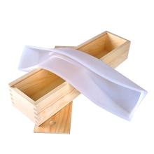 ניקול סיליקון סבון עובש ארוך גודל מלבן עובש עם תיבת עץ בעבודת יד מערבולת כיכר סבונים ביצוע כלי