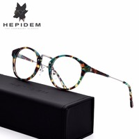 HEPIDEM Acetate High Quality Handmade Glasses Frame Women Prescription Round Eyeglasses Men Vintage Optical Spectacles Eyewear
