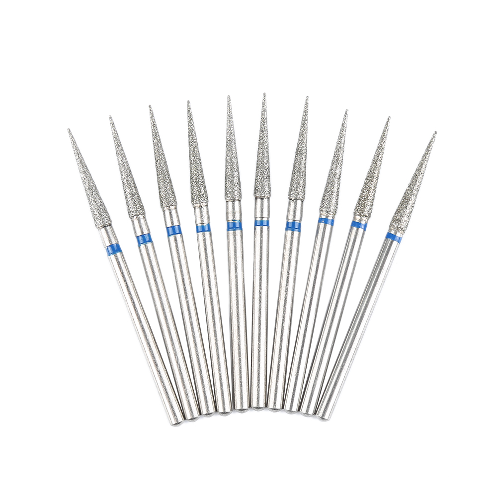 10Pcs 2.35mm Shank Diamond Grinding Bur Drill Bits Sets Needle Shape Head MM27 Dental Polishing Burs Dental Care Tool