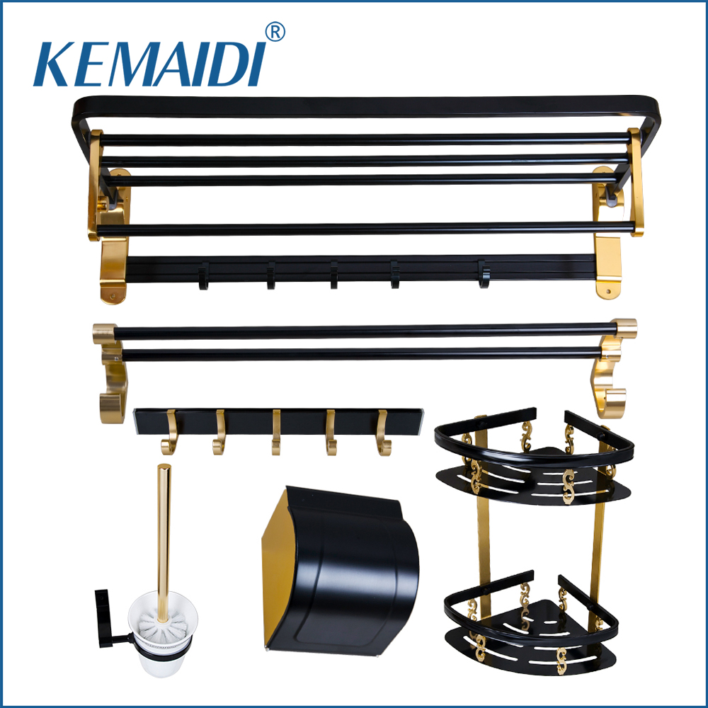 KEMAIDI Luxury Space Aluminium Metal Bathroom Shelf&Paper Holder&Toilet Holder&Clothes hook Holder Bath Hardware Sets Accessorie