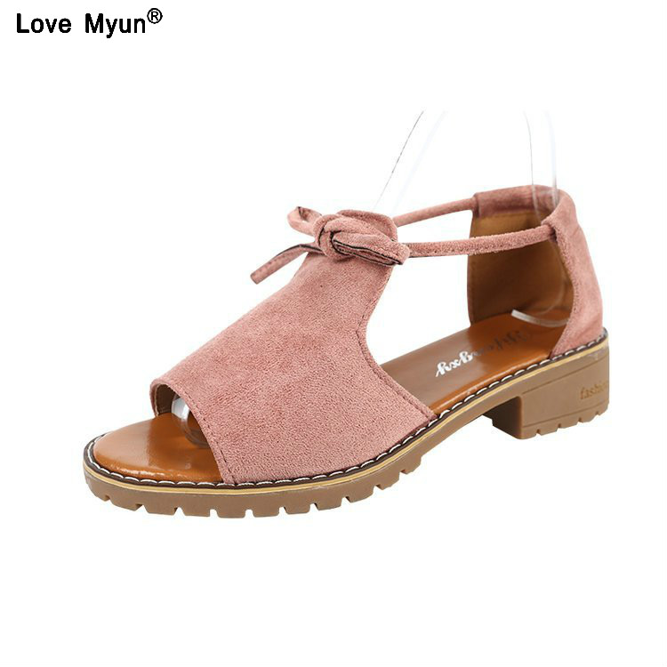 Brand 2019 New Thick With Sandals Female Summer Fish Mouth Buckle Roman Shoes Solid Color Low-heeled Women Sandals