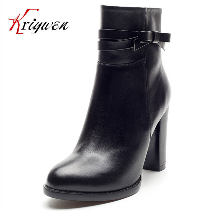Plus size 34-40 Fall 2016 latest zipper motorcycle boots for women full grain leather cowhide fashion 9cm high heels party shoes enmayer new boots arrivals fashion motorcycle boots high heels shoes for women full grain leather boots