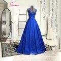 Azul Royal Longos Vestidos de Noite V Pescoço Cruz Spaghetti Backless A-Line Prom Vestidos de Cetim Vestidos Formais Para Festa de Casamento