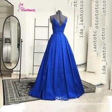 Royal Blue Lange Abendkleider V-ausschnitt Kreuz Spaghetti-trägern Backless A-Line Abendkleider Satin Abendkleider Für Hochzeit