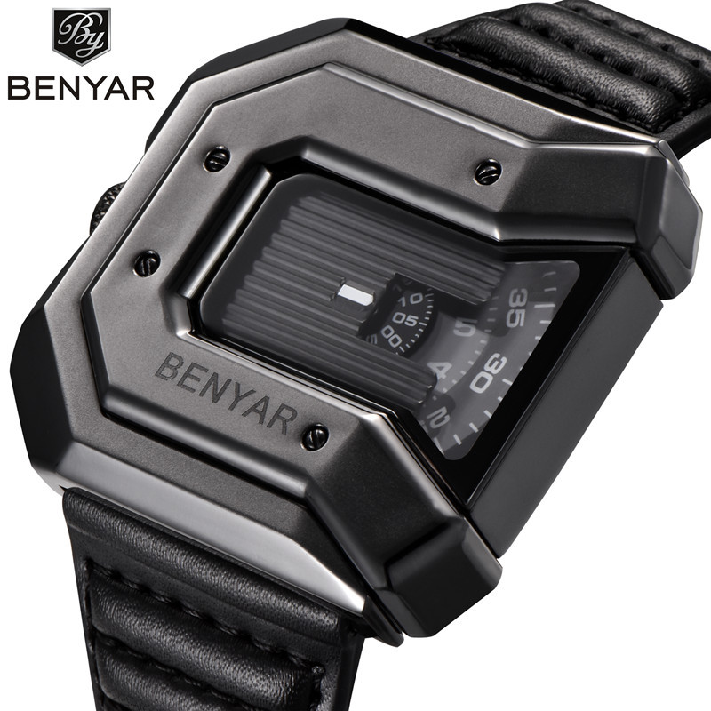 BENYAR Creative Unique Design Quartz Watch Men Big Irregular Dial Leather Strap  Wrist Watches Sports Watches Relogio Masculino big size dial plate fashion men s quartz leather watch wrist strap watches 8 type optional top quality