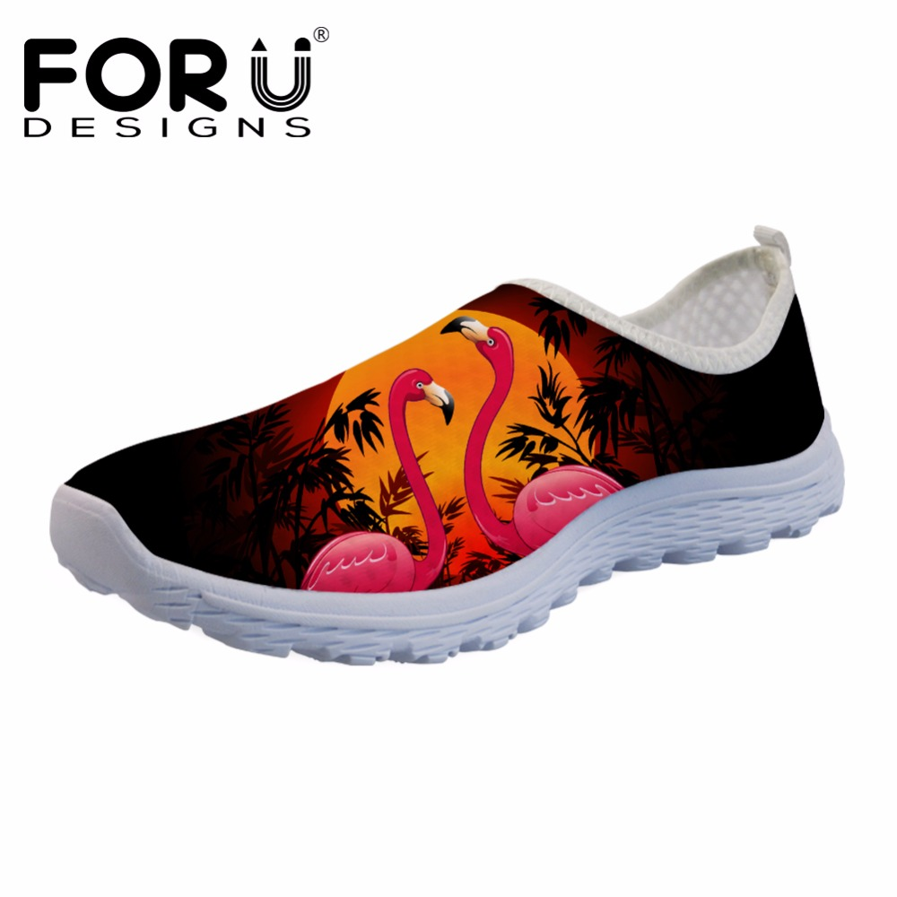 FORUDESIGNS Fashion Girls Summer Flats Shoes Women's Tropical Flamingos 3D Print Breathable Mesh Shoes Loafers for Female Casual forudesigns fashion candy color women casual flats shoes summer breathable mesh shoes for ladies leisure loafers female shoes