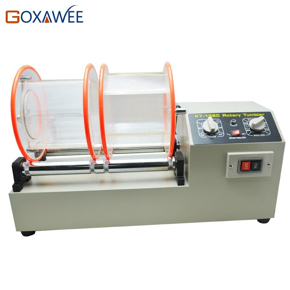 цена GOXAWEE 220V Two Barrels Rotary Tumbler Jewelry Polishing Machine Tumbler Polisher for Jewelry Grinding Polishing Machine
