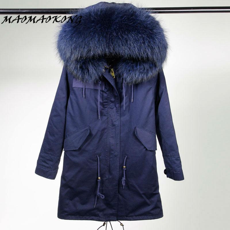 MAOMAOKONG  winter jacket women basic coat 100% real raccoon fur collar pockets loose oversized dark blue warm hooded long parka