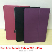 New Arrival Litchi skin PU Leather flip smart Auto Wake up Cases Stand protective Cover For Acer Iconia Tab W700 11.6inch tablet(China)