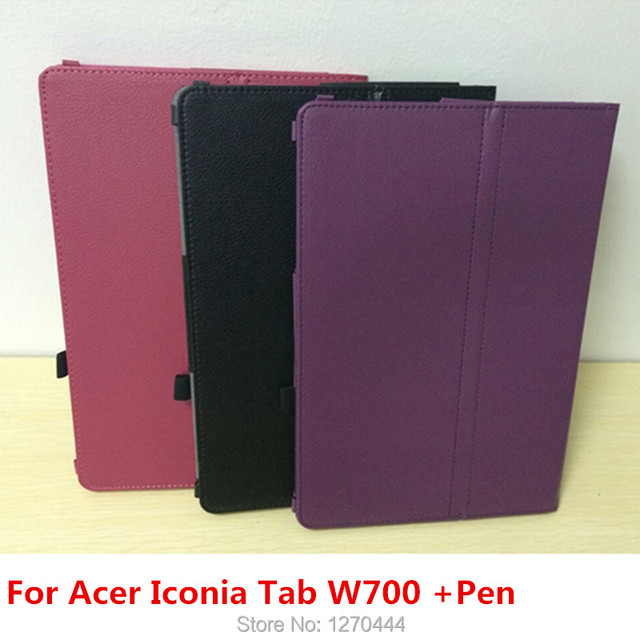New Arrival Litchi skin PU Leather capa para Case Cover For Acer Iconia Tab W700 11.6 inch,stylus pen +OTG as gift,free shipping
