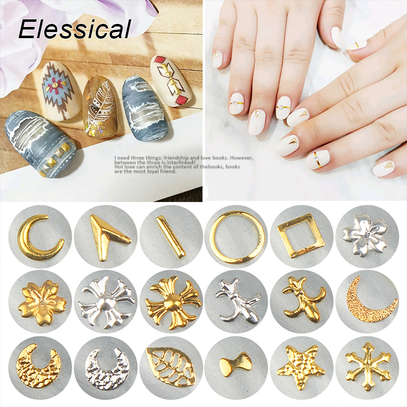 ELESSICAL 100Pcs/lot Copper Nail Stud Gold Silver Metal Nail Art Charm 3D DIY Tiny Rivet For Nails Tip Decoration MA0581-MA0719 10pcs gold 3d rudder metal flower pearl music note mixed rhinestones cross nail art decoration jewelry nails supplies y180 187