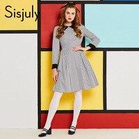 Sisjuly Vintage Dress Women Autumn Winter Striped Plaid Dress Patchwork Long Sleeve A Line Girl Party