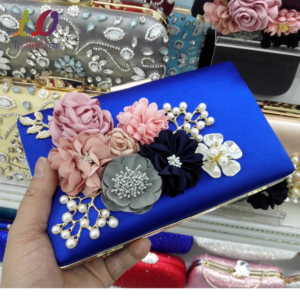 2017 newest Women Black Envelope Evening Clutch Bags Flower Chain Ladies Day Clutches Wine Purple Female Wedding Bag Purse 808