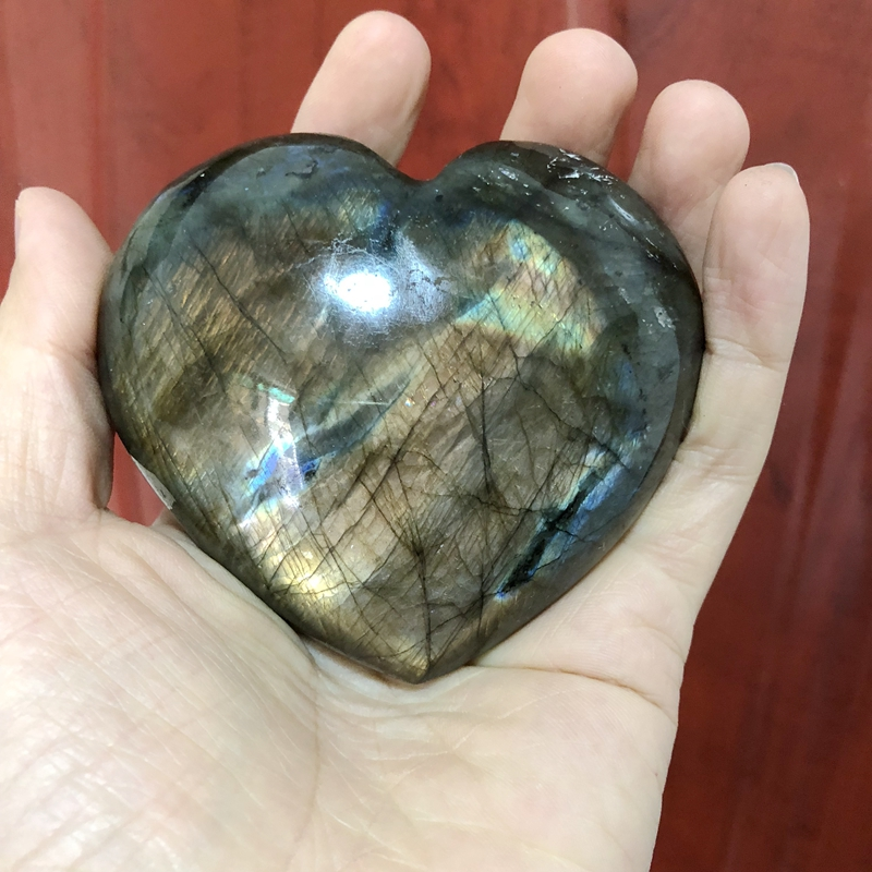 ONLY ONE!! Large Labradorite Heart-Carved Labradorite Hearts,Reiki Chakra Healing Stone Hearts,85X39mm 350grams